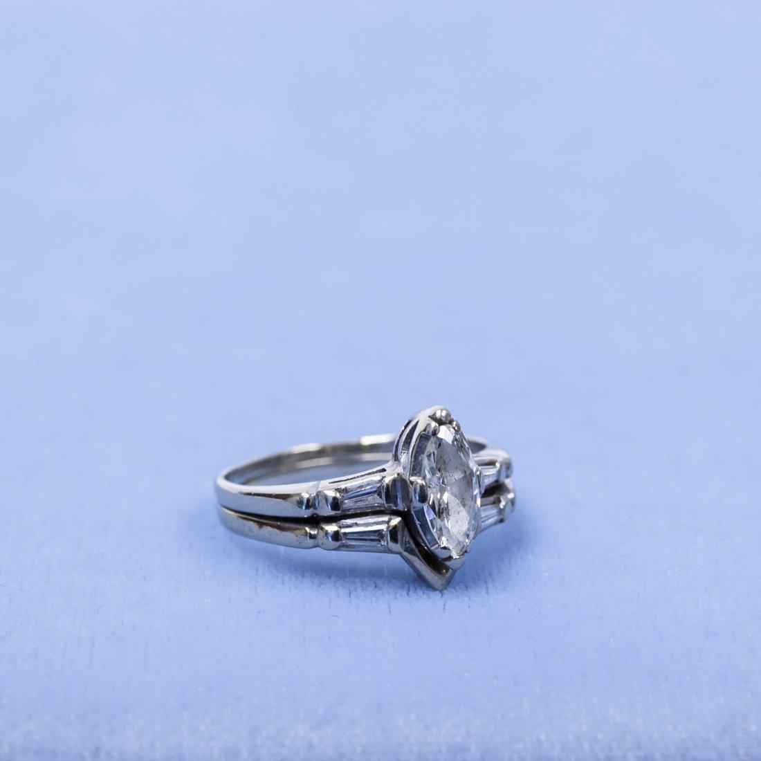 14K White Gold and Diamond Ring.