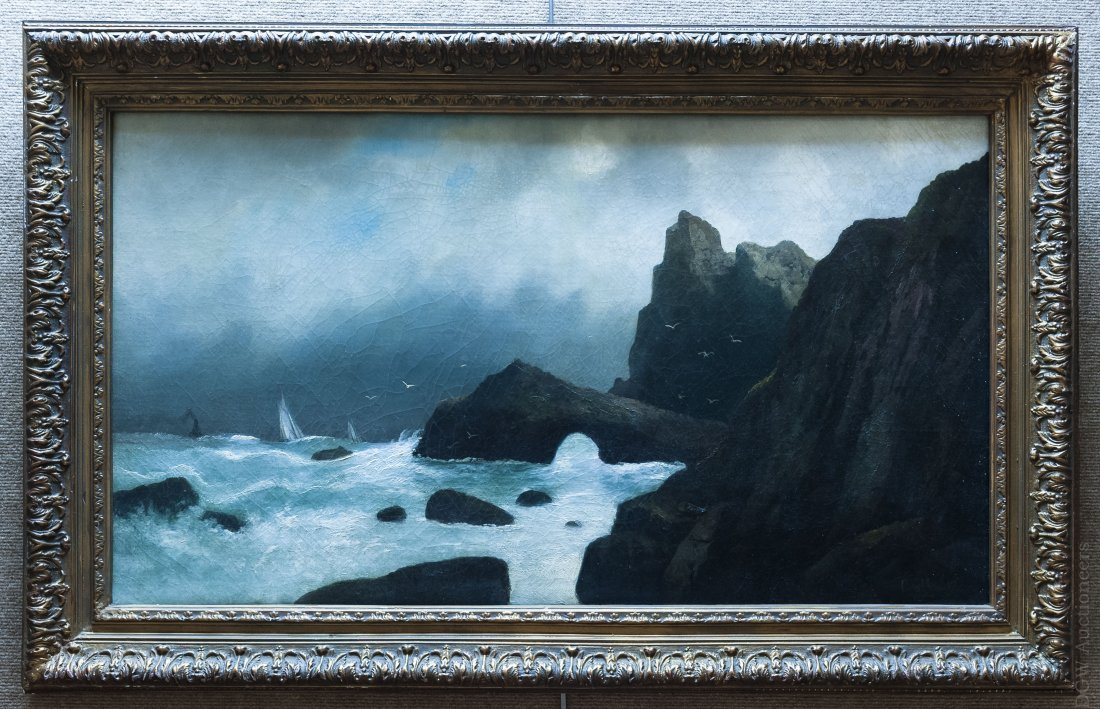 Coulter Oil on Canvas Cliffside Seascape.