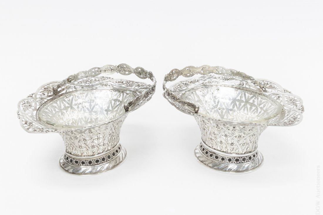 Pair of Reticulated Silver Plated Baskets.