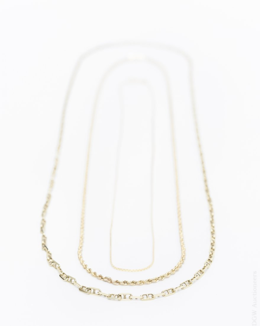(3) 14K Yellow Gold Necklaces.