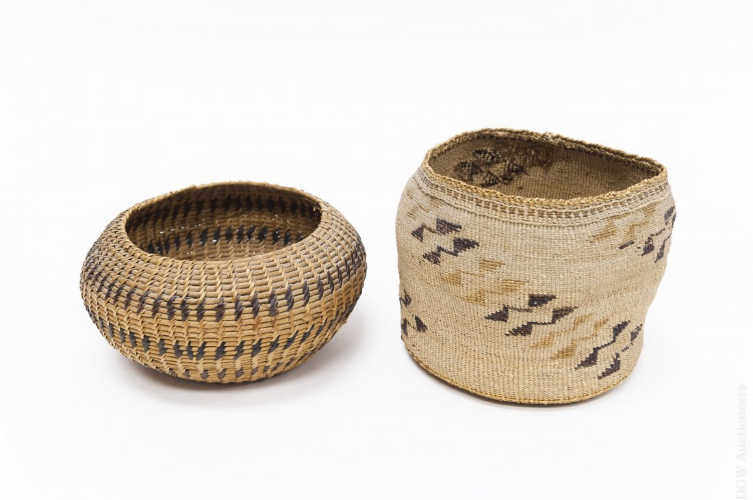 (2) Native American Hand Woven Baskets.