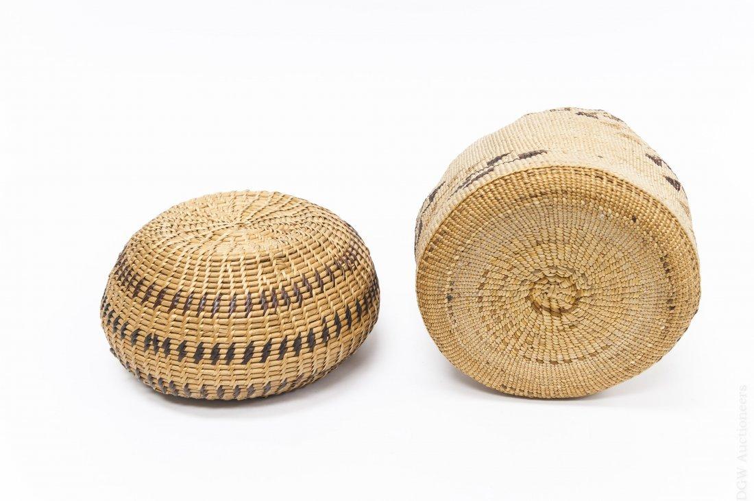 (2) Native American Hand Woven Baskets. - 3