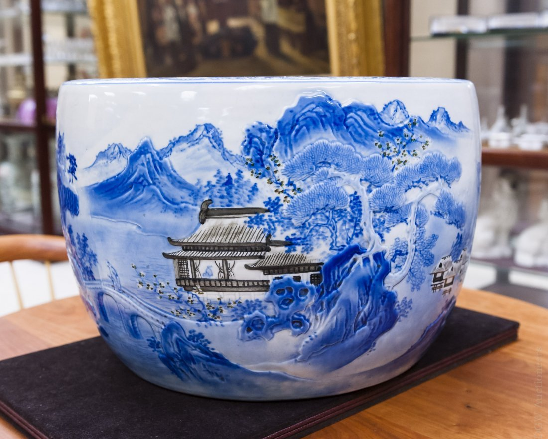 Asian Blue and White Porcelain Planter.