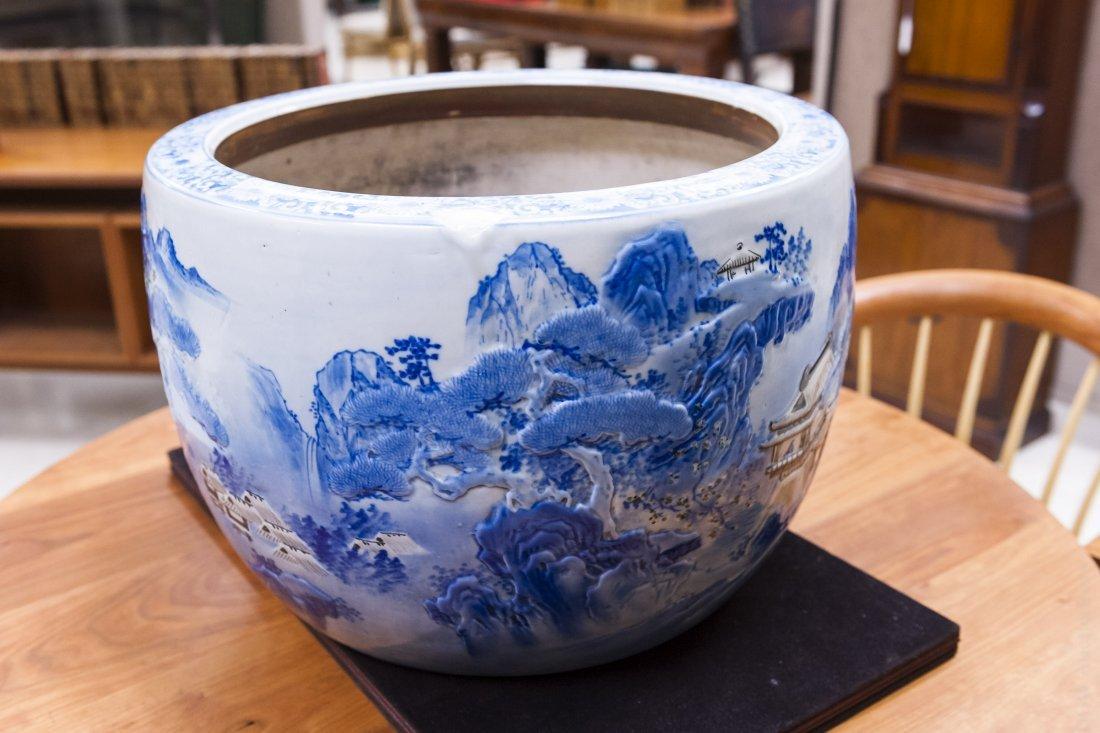 Asian Blue and White Porcelain Planter. - 2