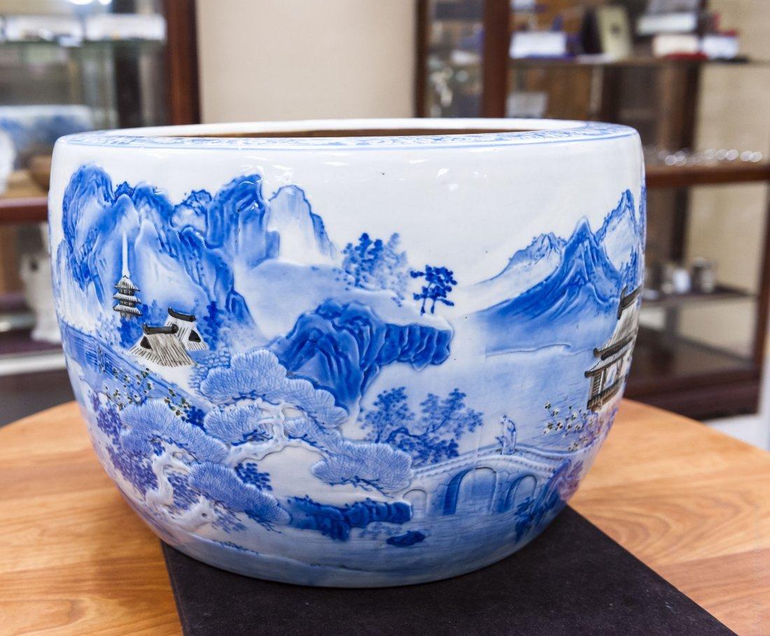 Asian Blue and White Porcelain Planter. - 3