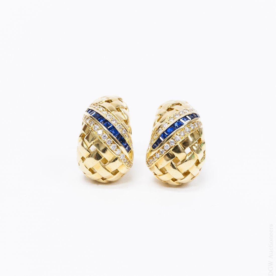 Tiffany & Co. 18K Gold, Diamonds and Sapphire Earrings.