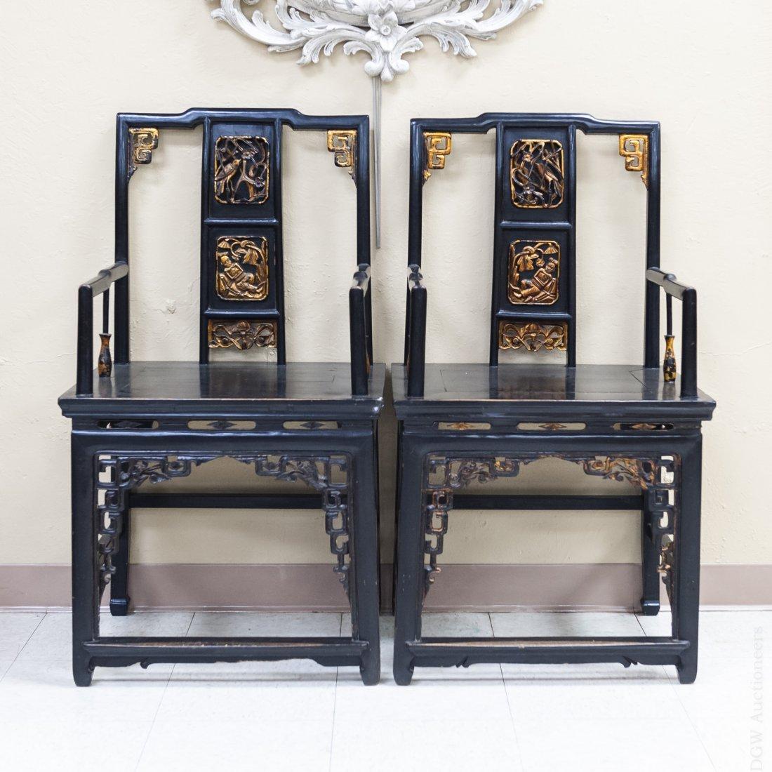Pair of Ebonized Oriental Armchairs.