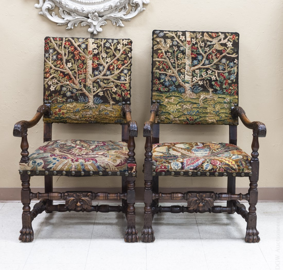(2) 19th C. Continental Walnut Throne Chairs.