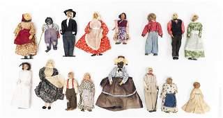 (16) Vintage Folk Art Dolls.