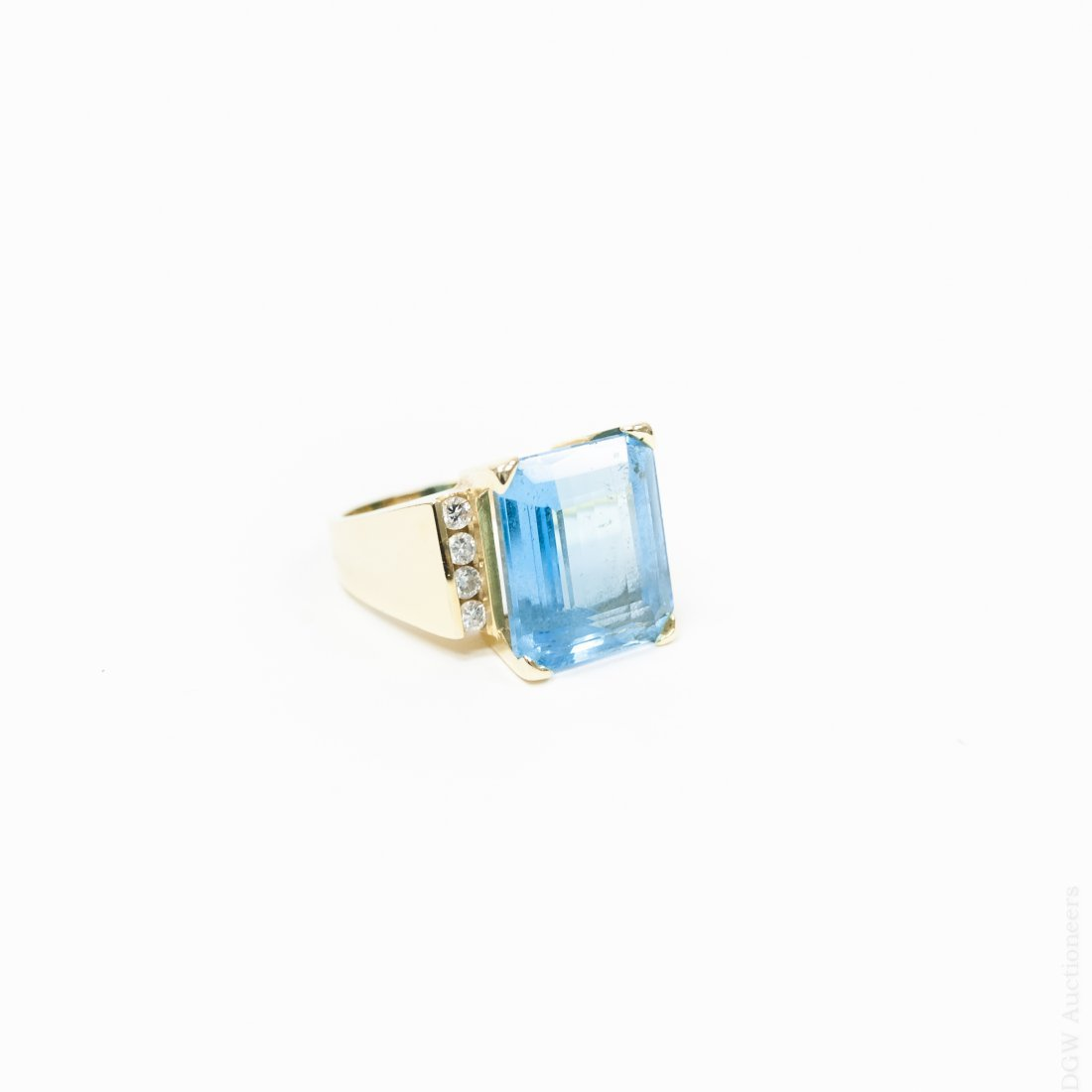 14K Yellow Gold, Blue Topaz & Diamond Ring.