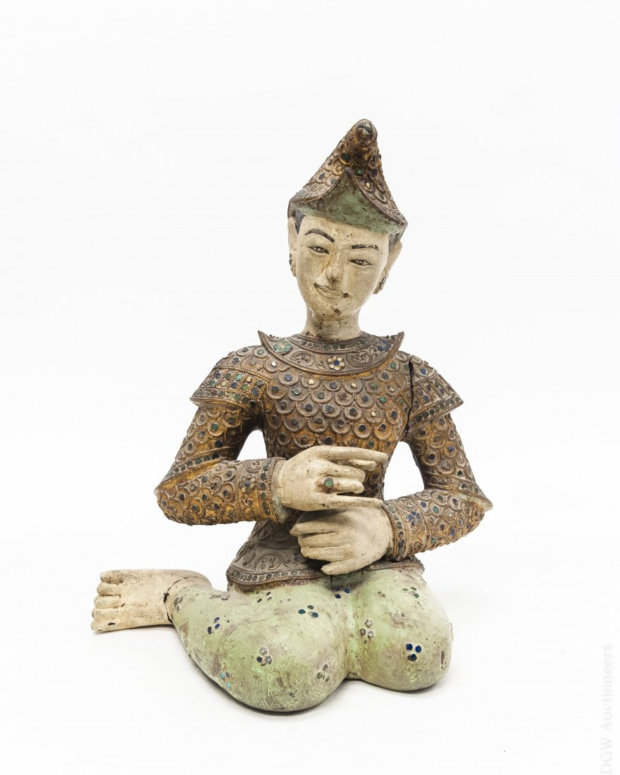 19th C. Asian Carved Wood Seated Man.