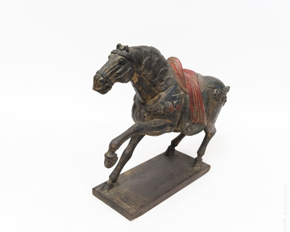 Early 20th C. Carved Wood Tang Horse.