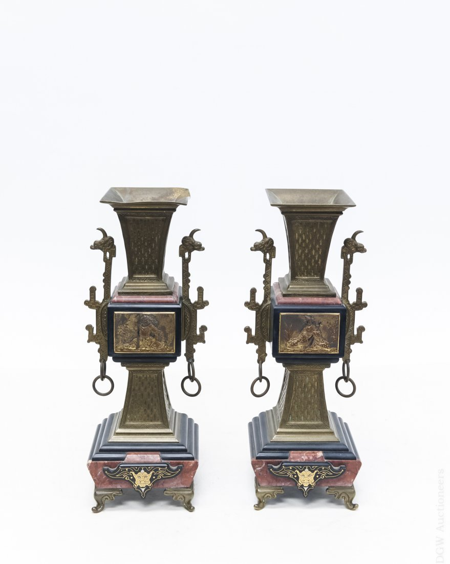 Pair of Asian Brass and Marble Candle Holders.