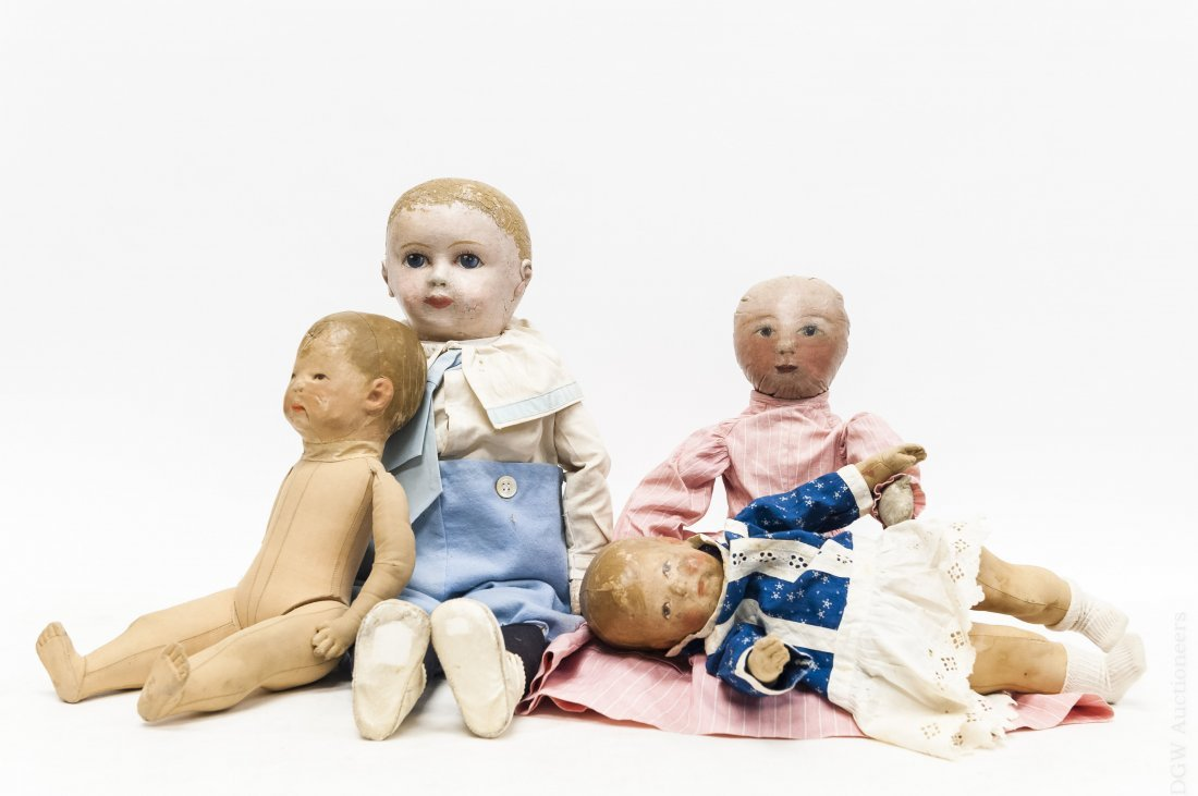 (4) Vintage Cloth Dolls with Painted Faces.