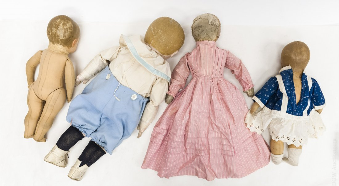 (4) Vintage Cloth Dolls with Painted Faces. - 2