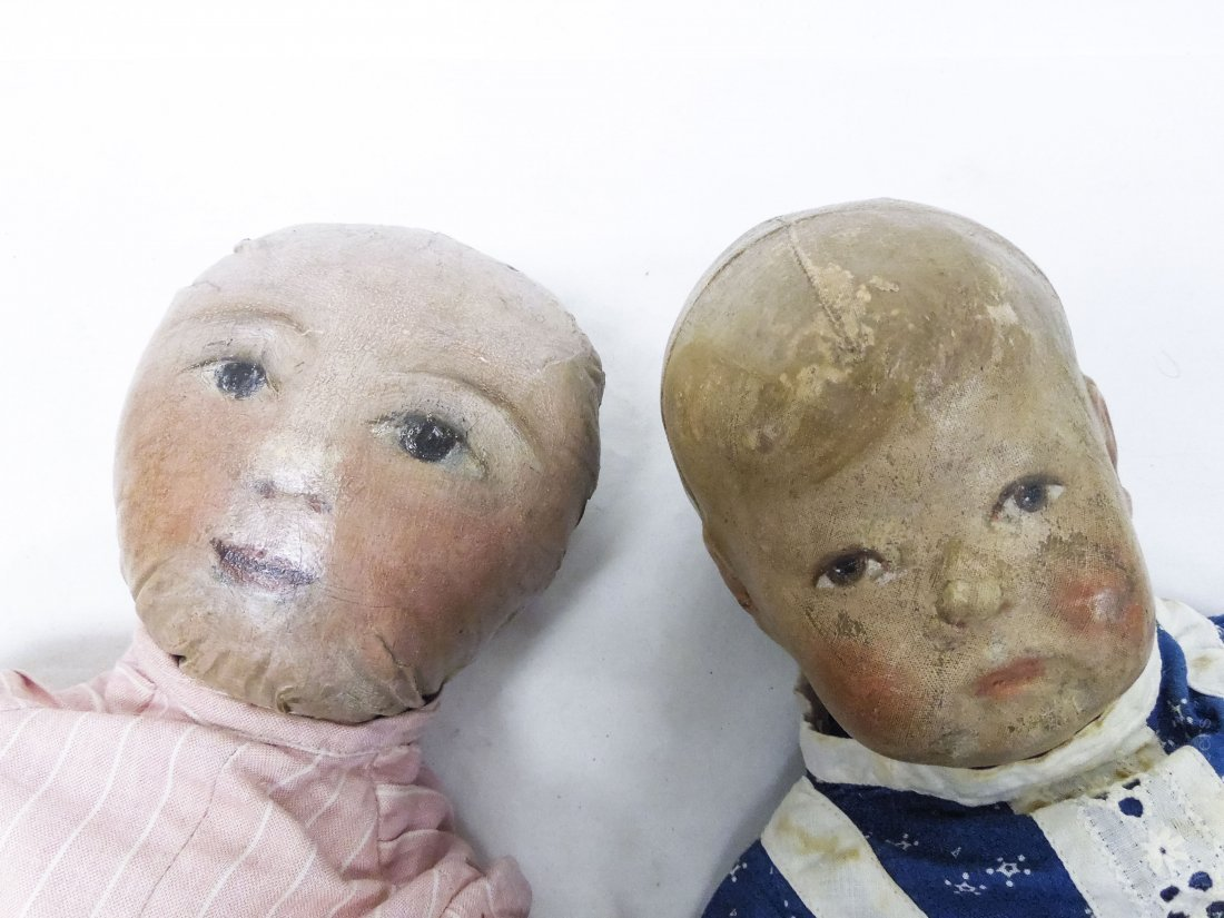(4) Vintage Cloth Dolls with Painted Faces. - 3