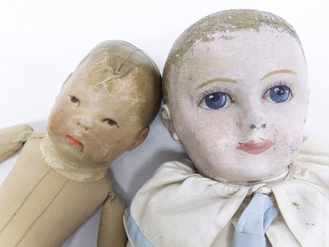 (4) Vintage Cloth Dolls with Painted Faces. - 5