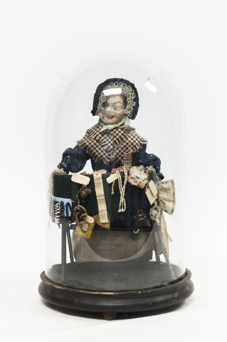 "Vintage Folk Art ""Vendor"" Doll. - 8"