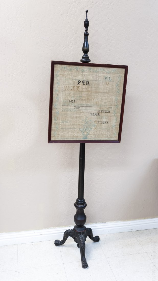 Early 20th C. Fireside Screen with Sampler.