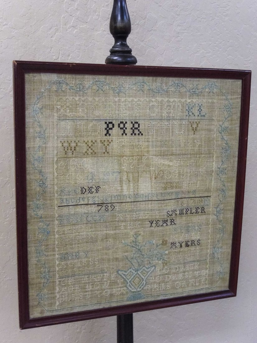 Early 20th C. Fireside Screen with Sampler. - 2