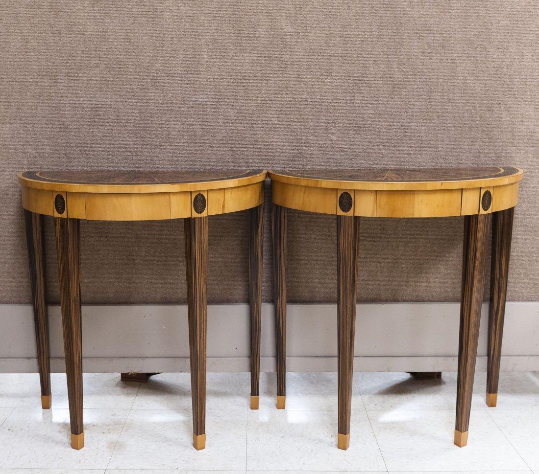 Pair of Calvin Lau Designs Demilune Tables.