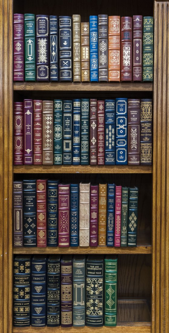 (47) Franklin Leather Bound First Edition Books.