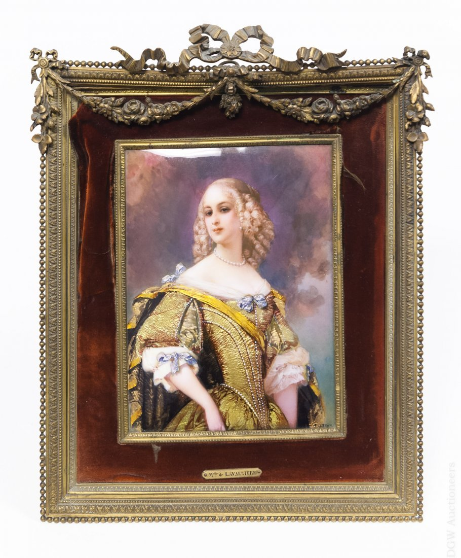 French Enameled Portrait Plaque.