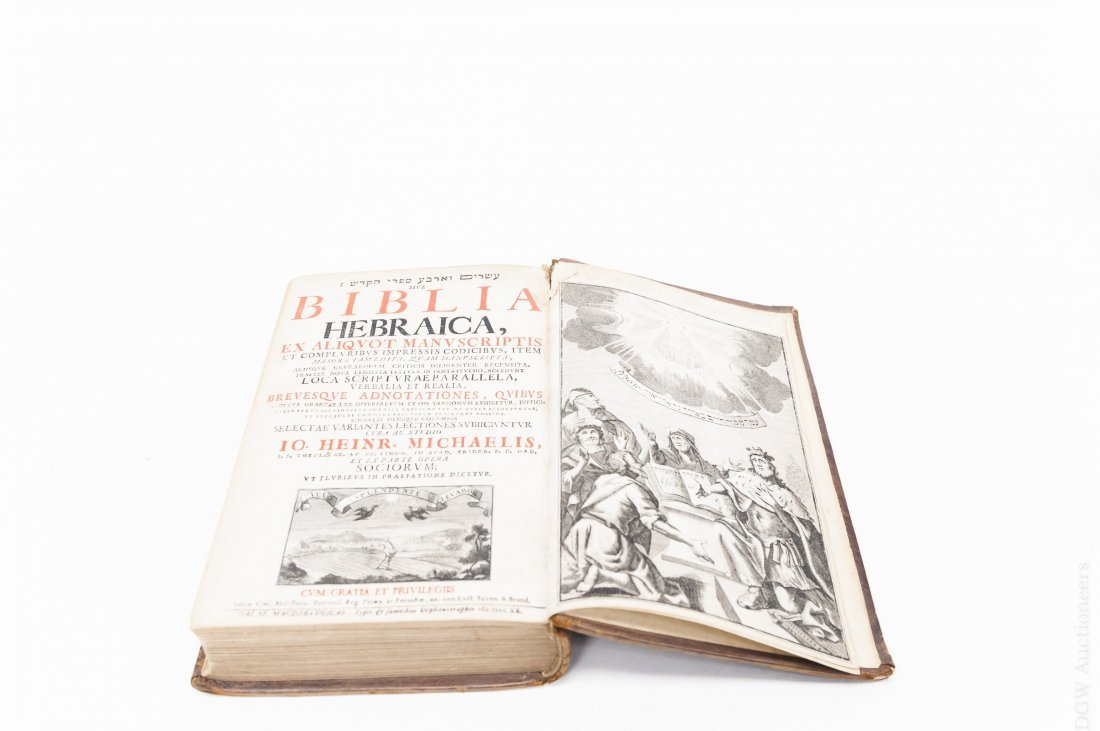 (3) Antique Leather Bound Hebrew Books. - 4