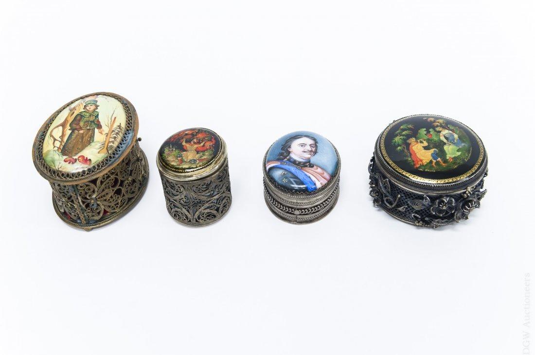 (4) Russian Miniature Filigree Boxes.