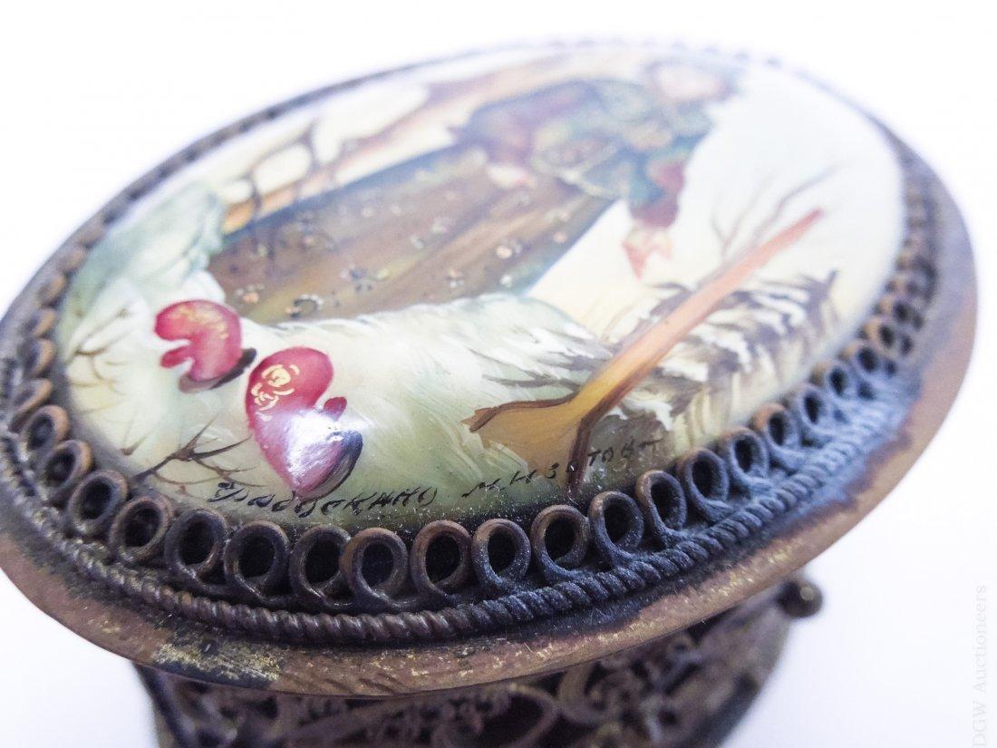 (4) Russian Miniature Filigree Boxes. - 4