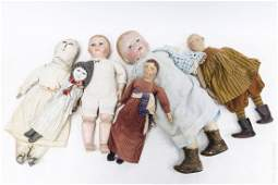 (5) Vintage Folk Art Dolls with Painted Faces.
