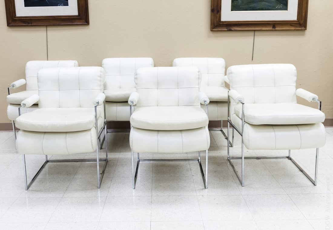 (6) Thayer Coggin Chrome & Leather Chairs.