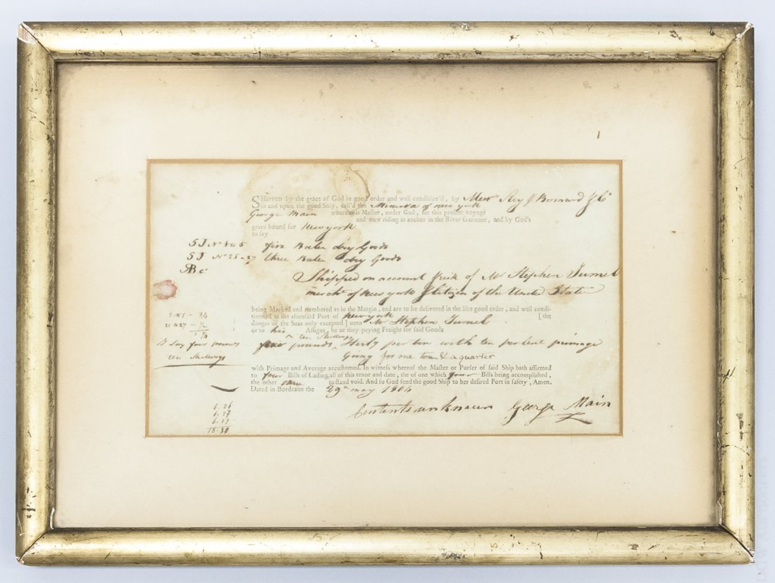 Framed 1802 Bill of Lading, New York.