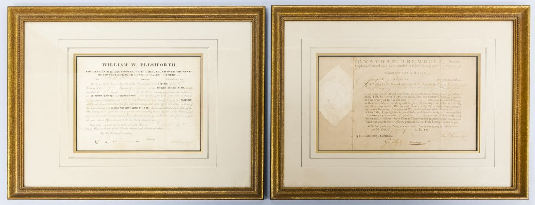 (2) Framed Historical Documents, State of Connecticut.