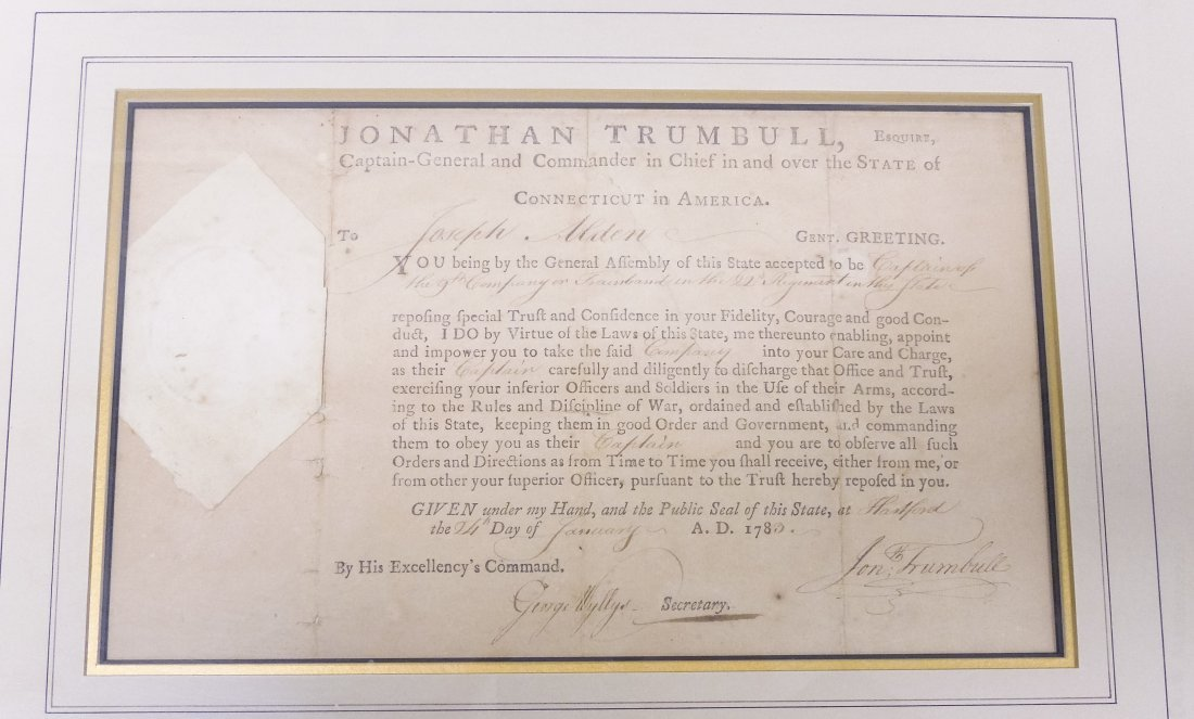 (2) Framed Historical Documents, State of Connecticut. - 5