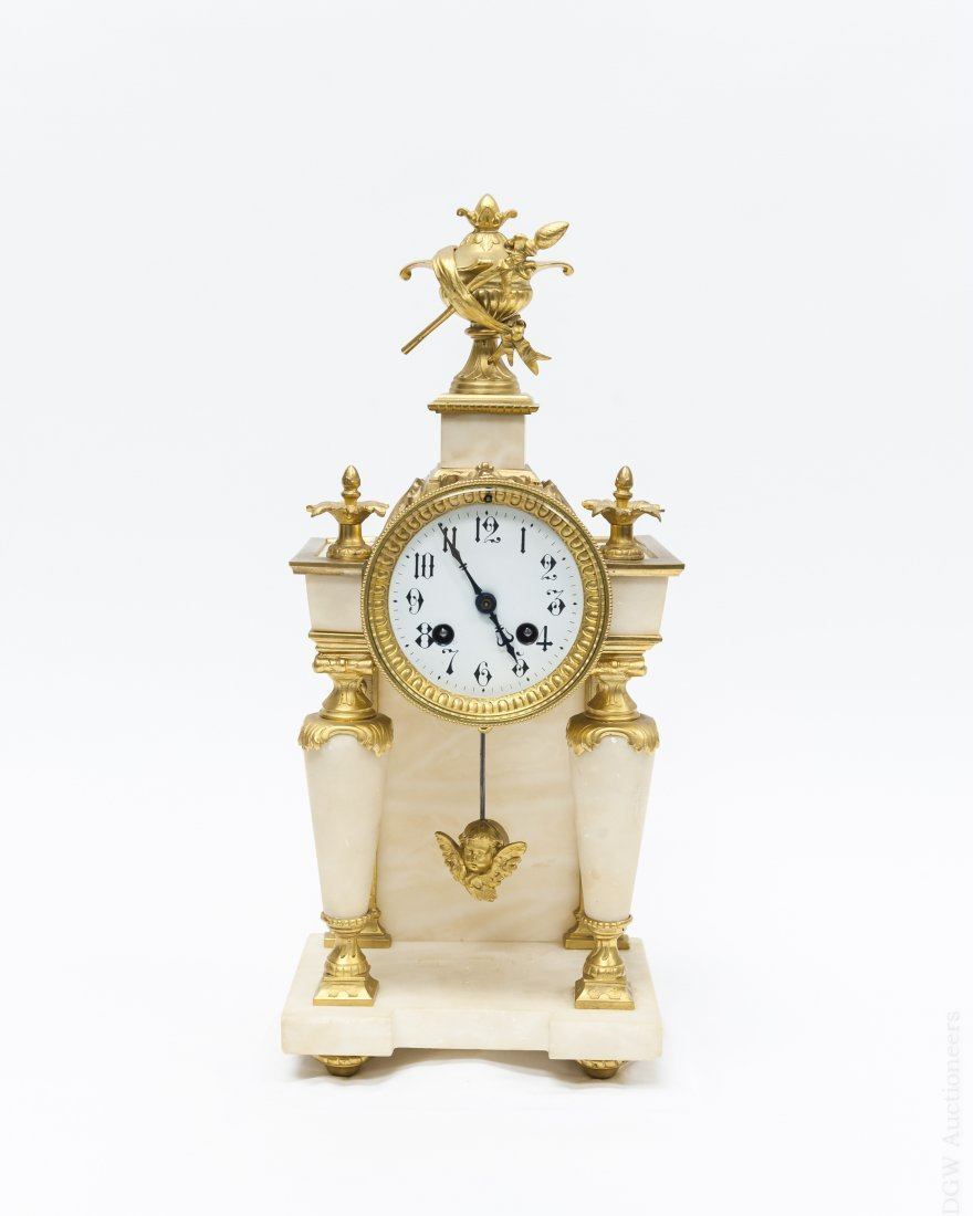 Continental Gilt Bronze and Marble Mantel Clock.