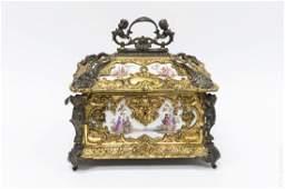 19th C Gilt Bronze  Porcelain Lidded Box