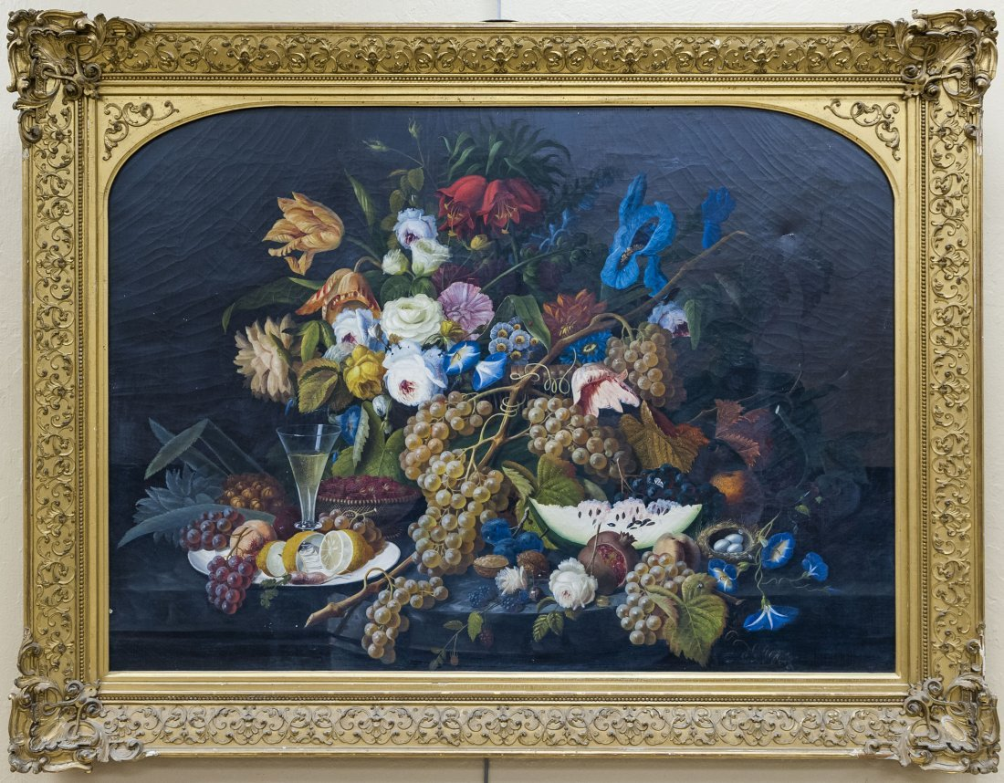 Gilt Framed Oil on Canvas, Still Life.