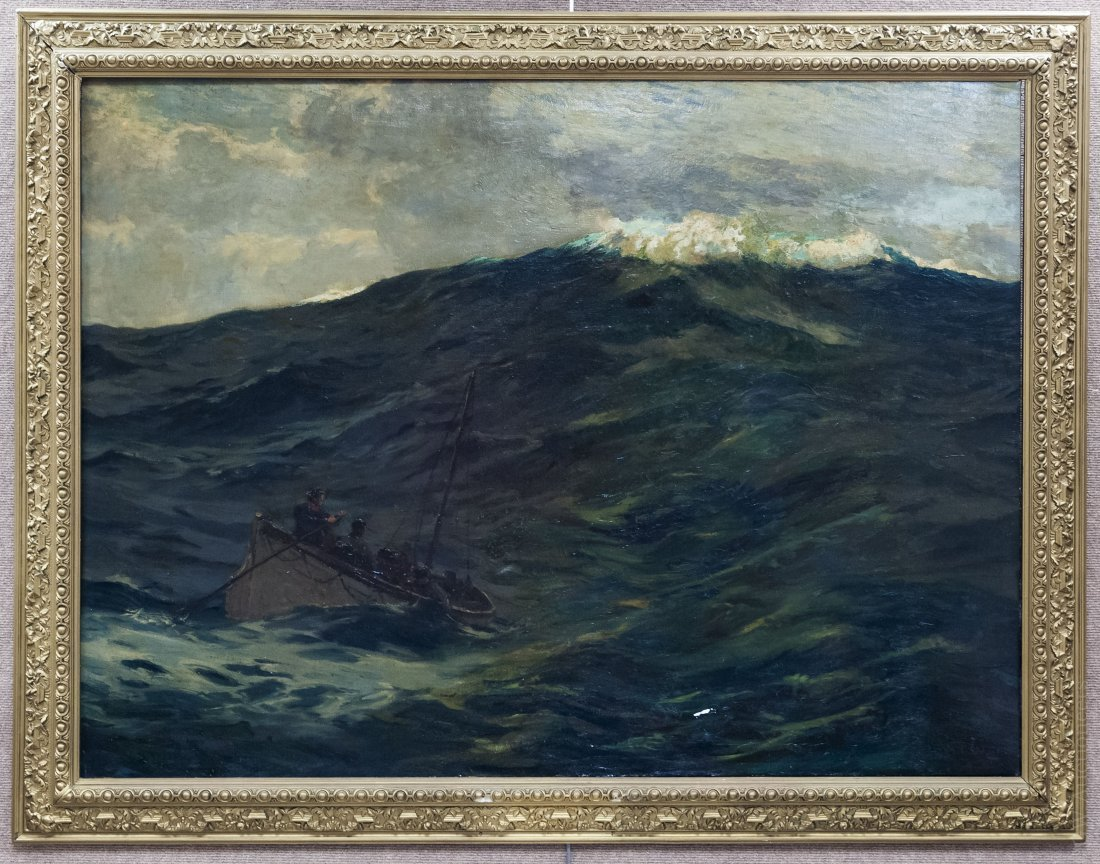 "Norman Wilkinson, Oil on Canvas, ""The Castaways""."