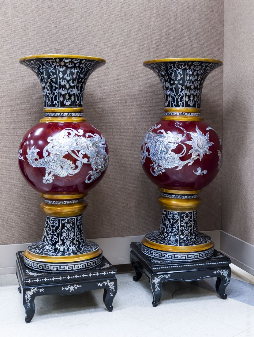 Pair of Monumental Vietnamese Temple Vases.