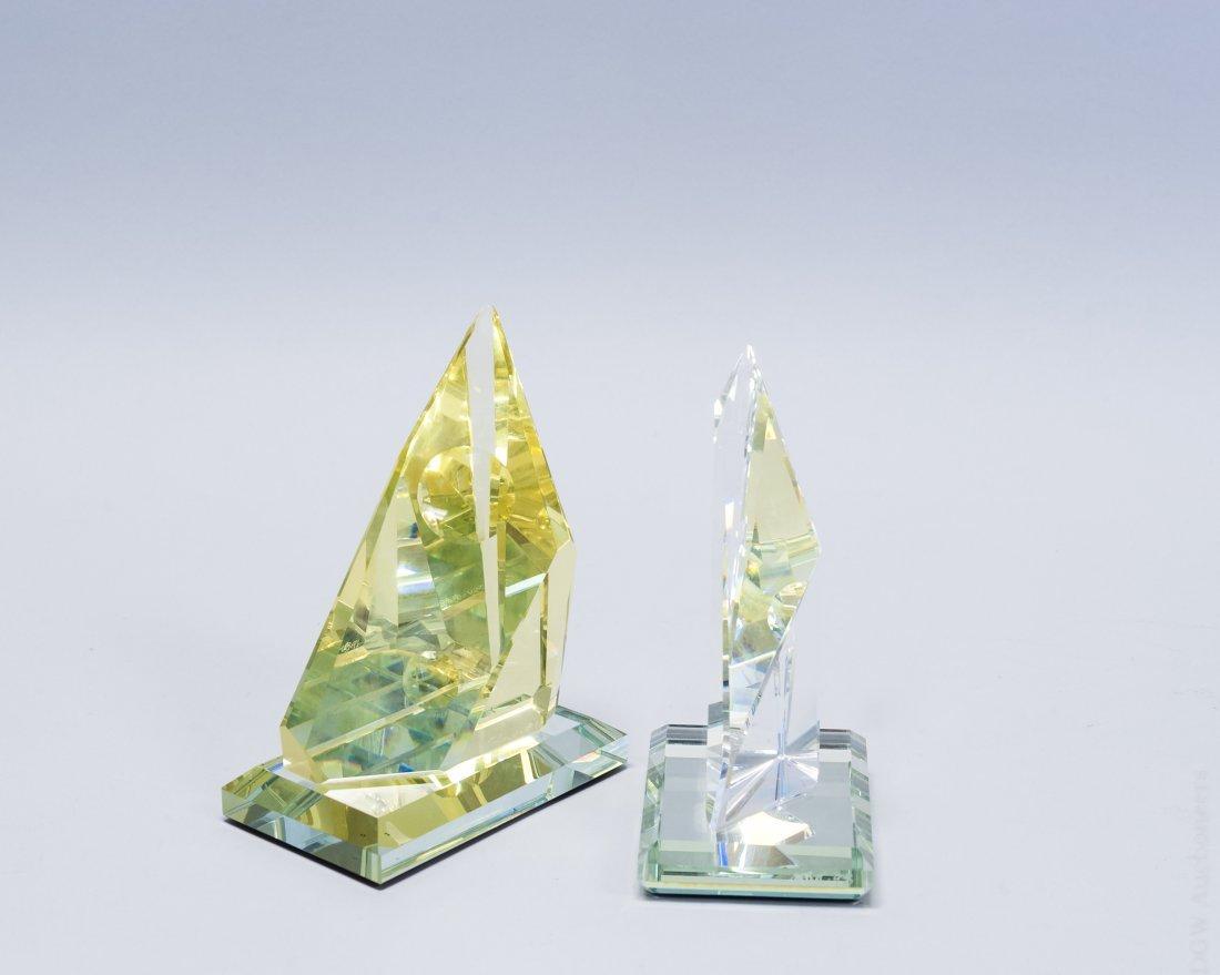 (2) Art Glass Helio Geometric Sculptures.