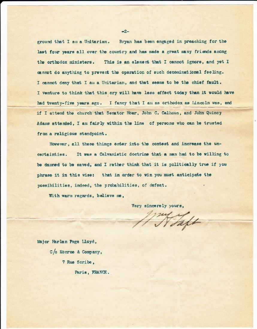 (3) Letters: William Howard Taft to Harlan Page Lloyd. - 3