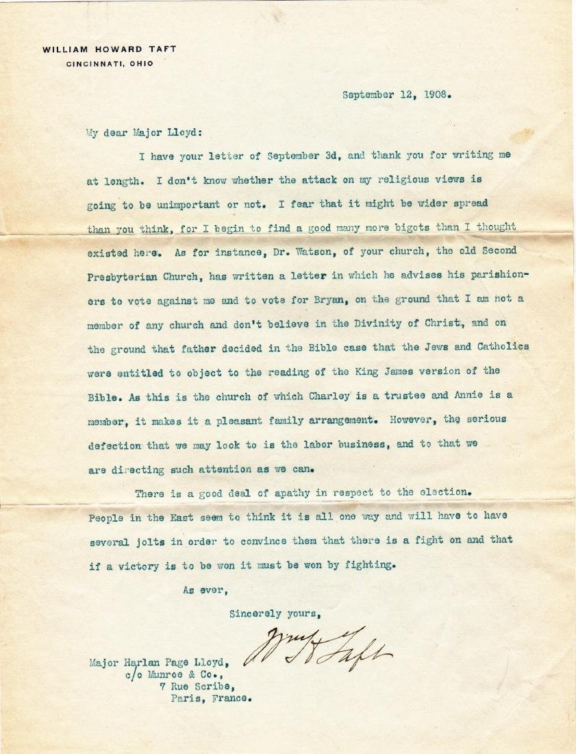 (3) Letters: William Howard Taft to Harlan Page Lloyd. - 4