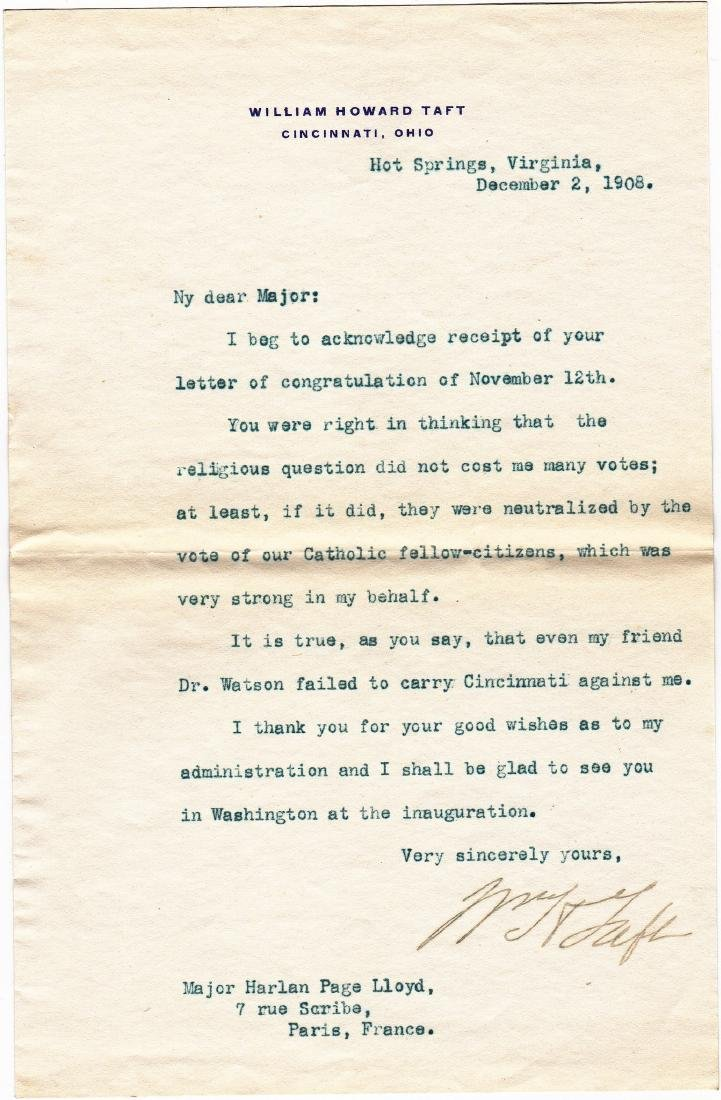 (3) Letters: William Howard Taft to Harlan Page Lloyd. - 5