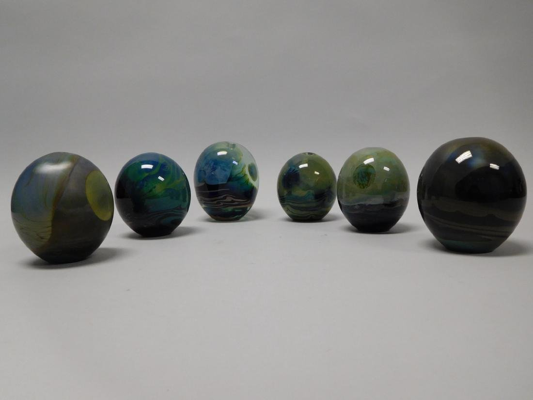 (6) John Lewis Moon Bottle Paperweight Vases.