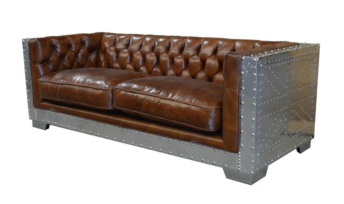 Georgetown Leather & Aluminum Sofa