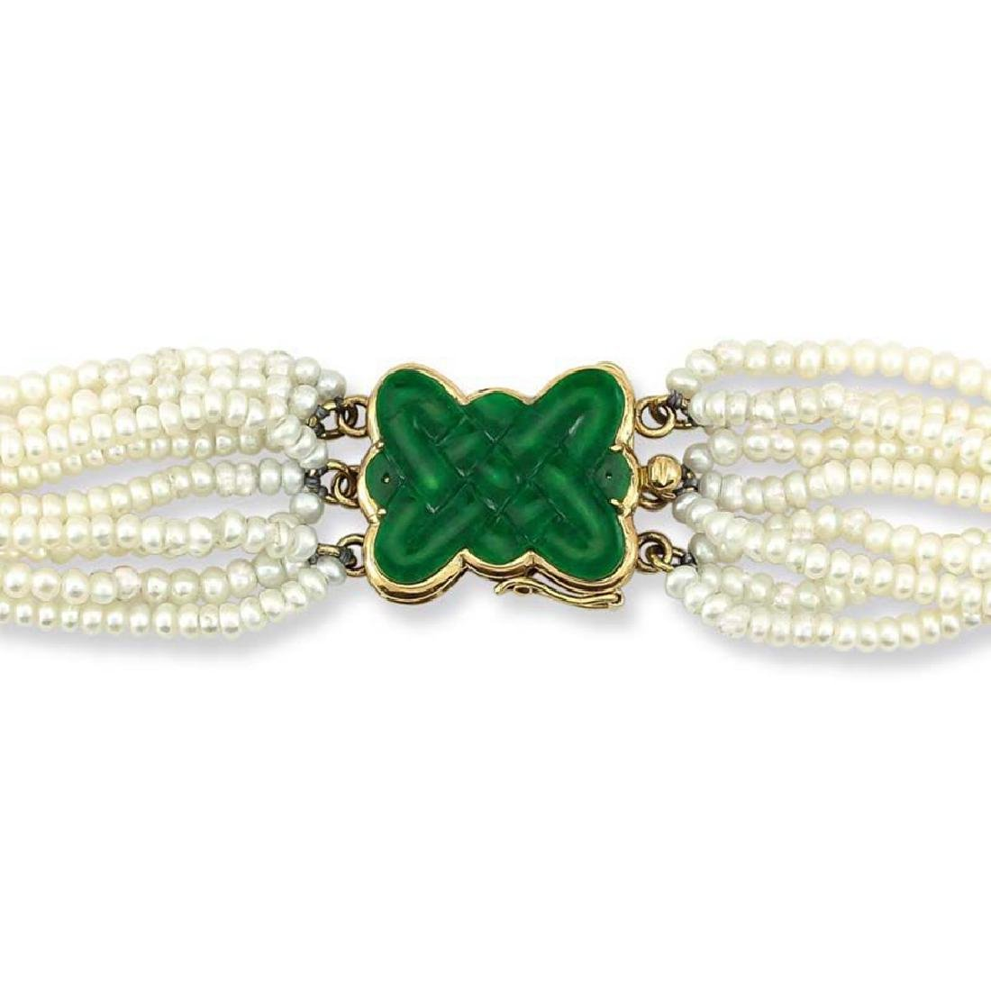 One Of A Kind  14k Yellow Gold Green Jadeite Jade Clasp
