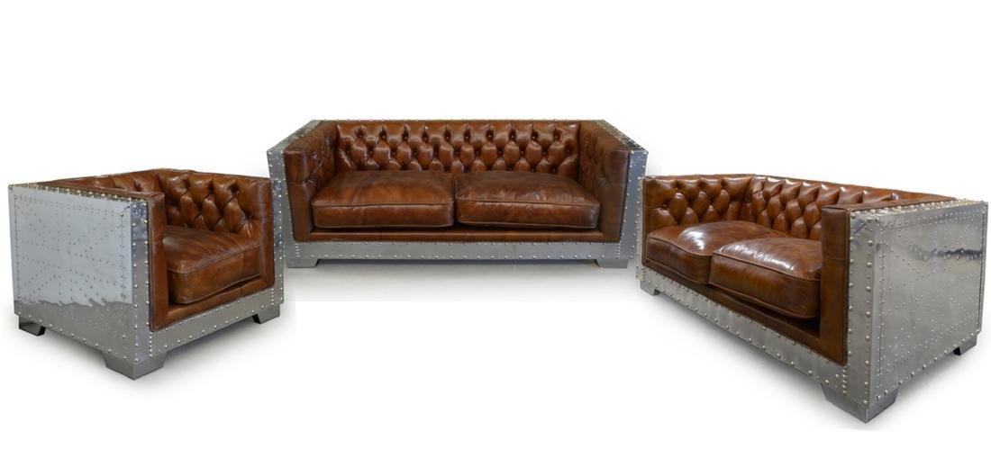 Georgetown Aluminum /Leather Sofa Set of 3