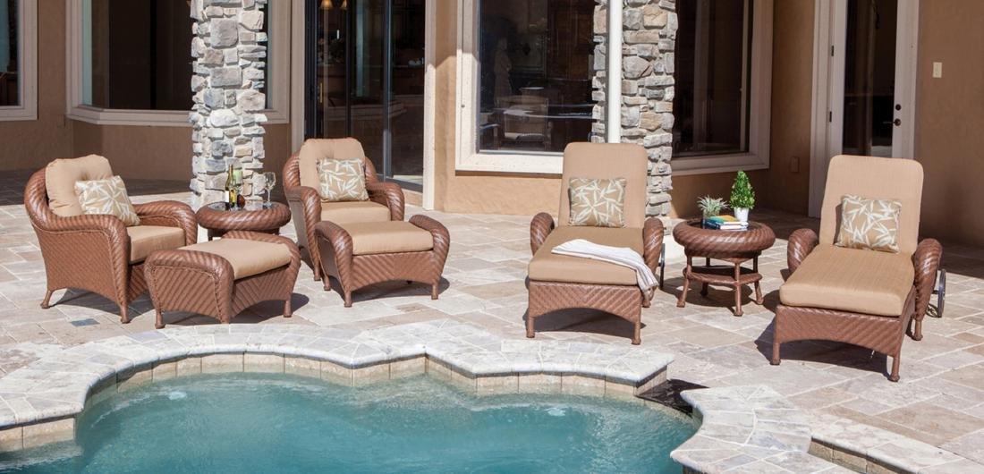Villanova Woven Outdoor 8 Piece Club and Chaise Set