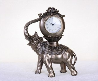 Bronzed Elephant Clock
